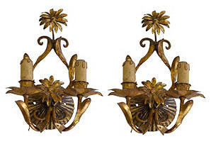 Set of Three Gilt-Metal Two-Light Wall Sconces, probably Italian, 20th century