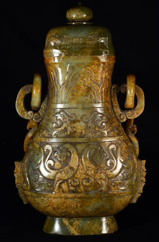 Chinese Nephrite Jade Archaistic Covered Vase, Qing Dynasty