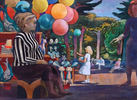 Millard Sheets (American, 1907-1989), Balloon Woman at the Zoo, watercolor on paper, signed