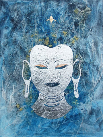 "Sax Berlin (British, b. 1953), ""Silver Buddha"", oil, silver leaf and copper leaf"