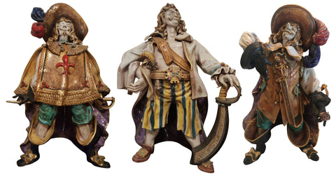 Three Italian Polychrome Painted Ceramic Musketeers, after Eugenio Pattarino (Italian, 1885-1971), ca. 1950