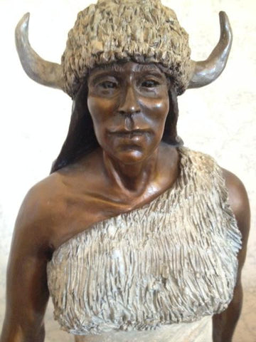 Marie Barbera (American, b. 1936), White Buffalo Woman, large patinated bronze figure, 20th century