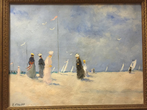 Frederick McDuff (American, 1931-2011), Ladies on a beach with sailboats in the distance, oil on canvas, signed