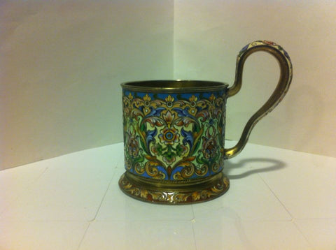 "Russian Silver-Gilt and Shaded Enamel Tea Glass Holder, Pavel Ovchinnikov, Moscow, ""84"" standard, 1898-1914"