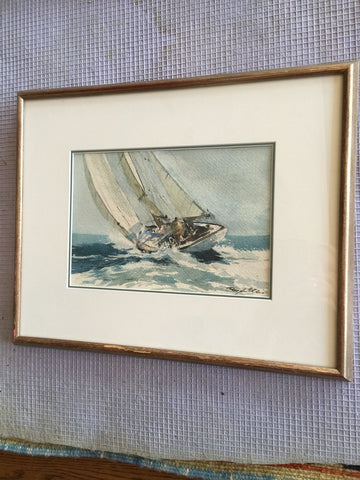 Ray G. Ellis (American, 1921-2013), Sailing, watercolor on paper, signed, 20th century