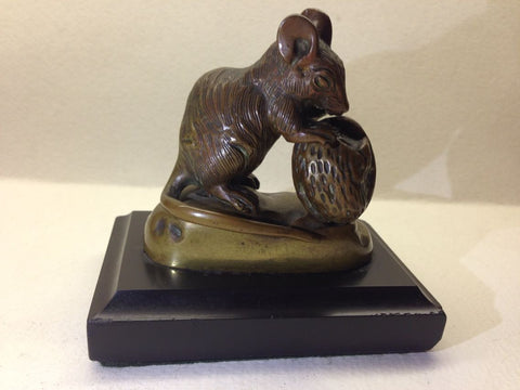 After Clovis-Edmond Masson (French, 1838-1913), Patinated Bronze Figure of a Mouse Holding a Walnut, signed