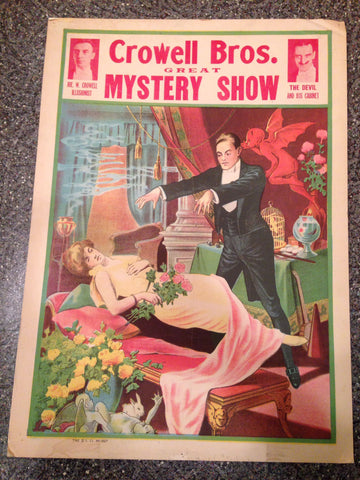 Crowell Bros. Great Mystery Show Poster, printed by the Donaldson Litho Company, early 20th century