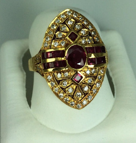 18K Yellow Gold, Ruby and Diamond Ring, probably Italian, 20th century