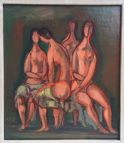"Frederic Taubes (American, 1900-1981), ""Quartet"", oil on board, signed"