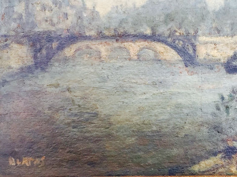 Arbit Blatas (Lithuanian, 1908-1999), View of the Seine, Paris, France, oil on board, signed, 20th century