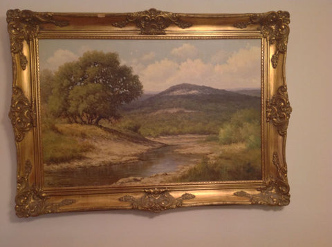 Palmer Chrisman (American/Texan, 1913-1984), Texas Hill Country River, oil on canvas, signed