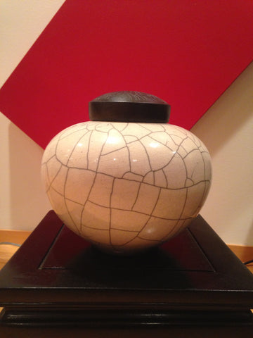 Robin MacKay (American, 20th Century), White Crackle Raku Glazed Lidded Vase, signed