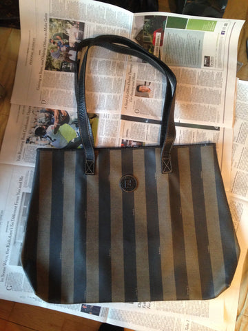 Fendi Striped Logo Canvas Large Tote, Italy, 20th century