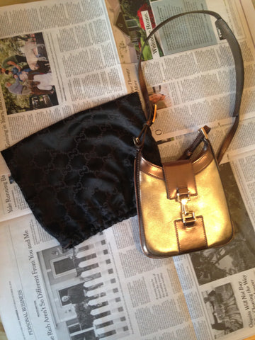 Gucci Bronze Leather Small Crossbody Evening Bag, 20th century, with Gucci dust bag