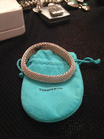 Tiffany & Co. Sterling Silver Mesh Bracelet, 20th century, with Tiffany blue suede pouch