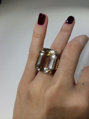 14K Yellow Gold and Citrine Ring,  ca. 1980s