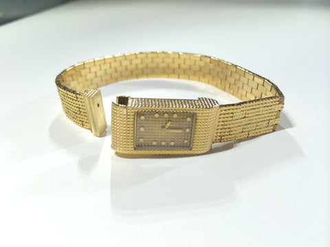 Ladies 18K Gold Dress Watch with Integrated Mesh Band, Boucheron Jewelers, Paris, made in Switzerland, ca.1960s