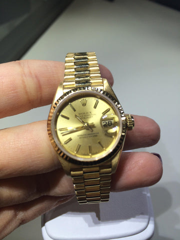 Ladies 18K Yellow Gold Datejust Wristwatch and Bracelet, President Model, Ref. 6916, Rolex, Geneva, ca. mid 1980s