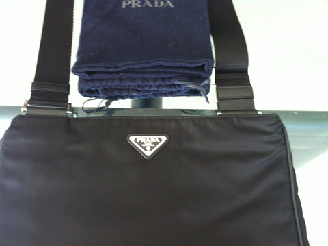Prada Black Nylon IPad Messenger Bag Italy, 21st century