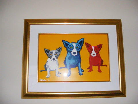 George Rodrigue (American, 1944-2013), Three's Company, ca. 1990s, screenprint in colors, signed, numbered 70/100