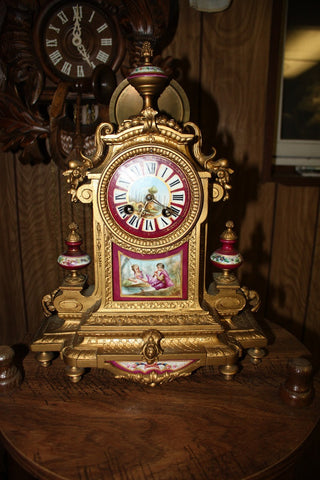 French Sevres Style Gilt Metal and Porcelain Mantel Clock