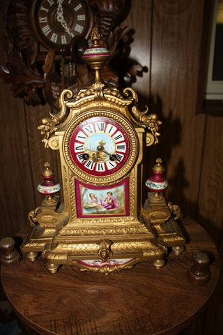French Sevres Style Gilt Metal and Porcelain Mantel Clock, in Architectural style, unsigned, ca. 1890-1900