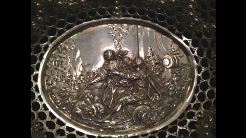 German Silver Reticulated Dish, ca. 1900, 800 standard
