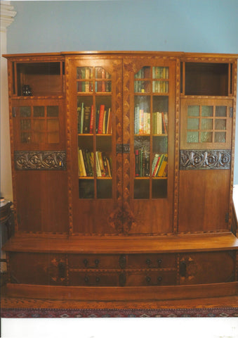 Austrian Secessionist Inlaid Wood Breakfront Cabinet, signed and dated Bernhard Ludwig, Wien, 1911