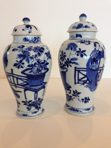 Pair of Chinese Blue and White Porcelain Covered Jars, Kangxi Period (1662-1773)