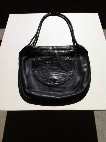 Alfred Roth Black Leather and Alligator Handbag, German, ca. 1980s