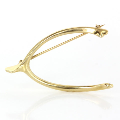 Cartier 14K Yellow Gold Wishbone Brooch, 20th century