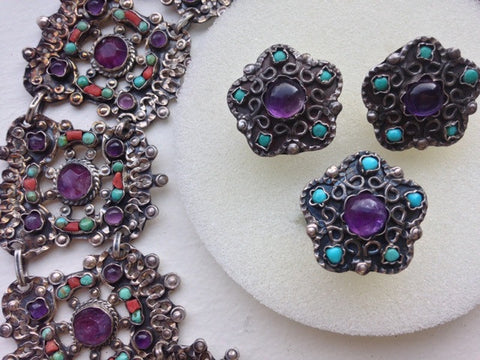 Mexican Silver, Amethyst and Turquoise Assembled Jewelry Set, attributed to Manuel Gutierrez Morales, Taxco, Mexico, 20th century