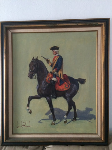 Leszek Piaseck (Polish, 1928-1990), Soldier on Horseback, oil on canvas, signed, 20th century