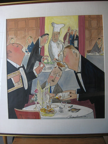 Ludwig Bemelmans (Austrian/American, 1898-1962) Restaurant Interior (Walker Deluxe Bourbon), watercolor on paper, signed