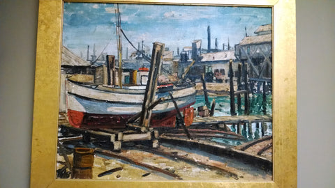 Esther Reinwald (American, 20th Century), Dock Scene, Los Angeles, oil on canvas, signed, 20th century