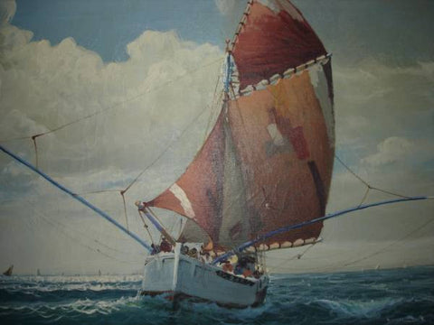 "Continental School (20th Century), Fishing Boat in the Sea near Douarnenez, Finistere, France, signed ""Godal"""