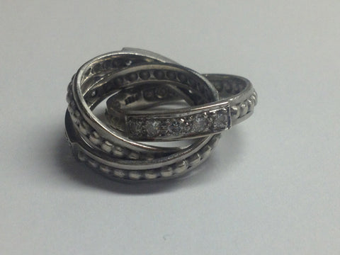 18K White Gold and Diamond Triple Band Ring