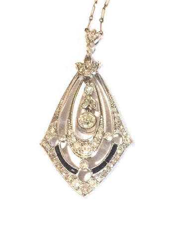 Art Deco 14K White Gold, Diamond and Black Onyx Pendant