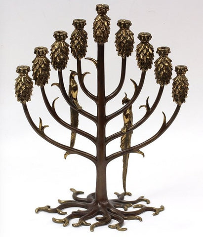 Erté (Romain de Tirtoff) (Russian/French, 1892-1990), Tree of Life Menorah, parcel gilt bronze, ca.1987