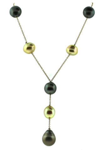 18K Yellow Gold and South Sea Pearl Necklace