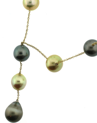 18K Yellow Gold and South Sea Pearl Necklace, contemporary