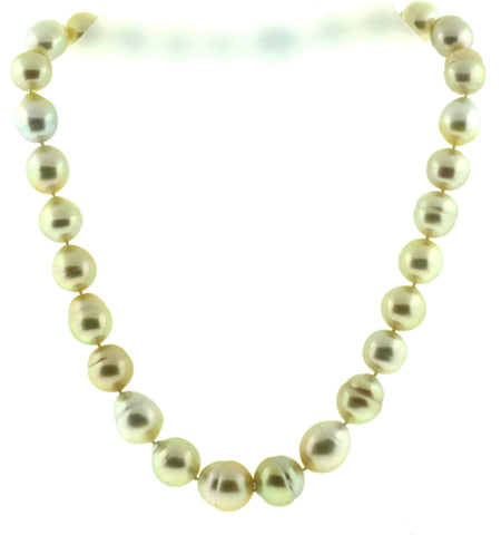 Strand of Yellow Baroque South Sea Pearls , contemporary, with sterling silver clasp