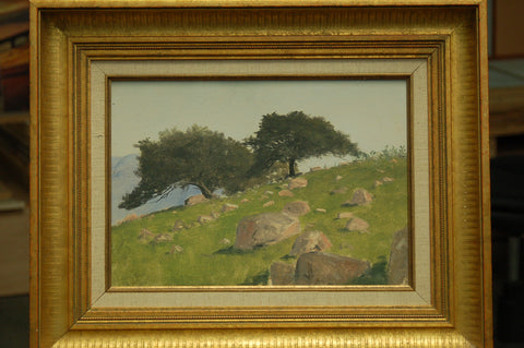 Lockwood de Forest (American, 1850-1932), Mission Point, Santa Barbara, 1909, oil on paper laid on board, signed
