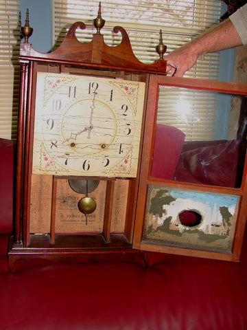 Mahogany 30-Hour, Wood Works, Pillar and Scroll Mantel Clock, Eli Terry & Sons, Plymouth Hollow, CT, ca. 1823-1831
