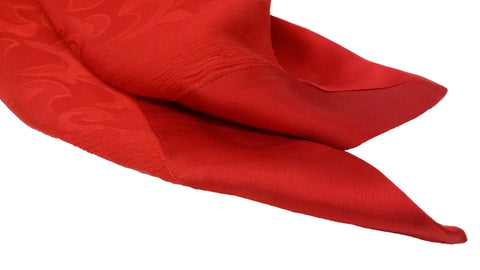 Italian Large Red Charmeuse Jacquard Silk Scarf ,Franco Ferrari, 21st century, with banded satin edges