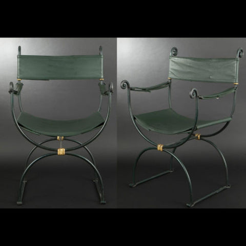 Pair of Green-Painted Wrought Iron Armchairs, 20th century