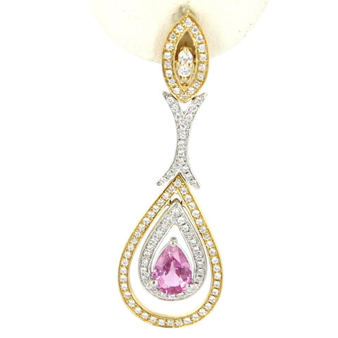 Pair of 14K Yellow Gold, Diamond and Pink Sapphire Drop Earrings, contemporary