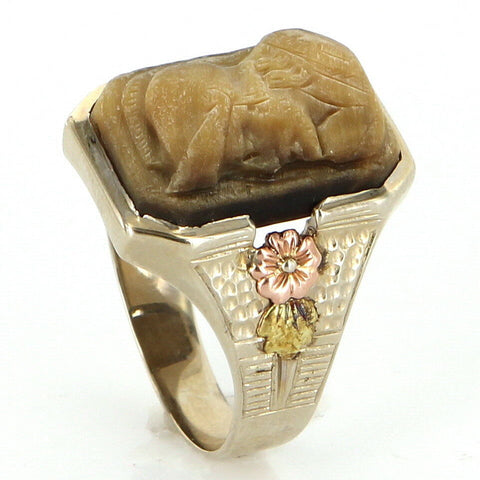 14K White, Rose, and Yellow Gold Tigers Eye Cameo Men's Ring, 20th century