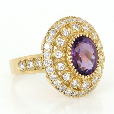 14K Yellow Gold, Amethyst, and Diamond Cocktail Ring, 20th century