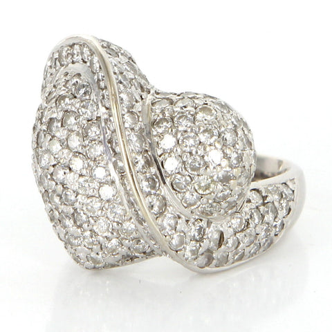 14K White Gold and Diamond Heart Ring